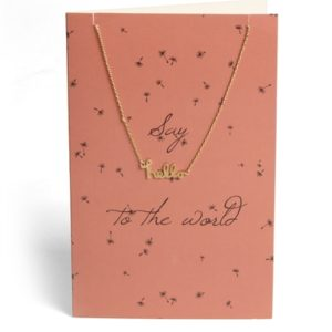 Pieces - Halskæde - PC Lala Necklace Gift Card Box - Gold Colour - Say ... To The World