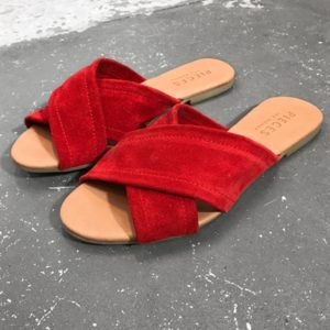 Pieces - Sko - PS Marine Suede Sandal - Red Heart