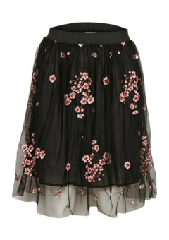 Soaked In Luxury - Nederdel - Lane Skirt - Black Floral Embroide