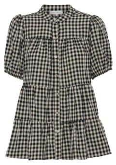 Continue - Bluse - Sanna Small Check Short Sleve - Check Black/Sand