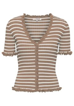 A-View - Bluse - Fabia SS Tee - Camel/Off white